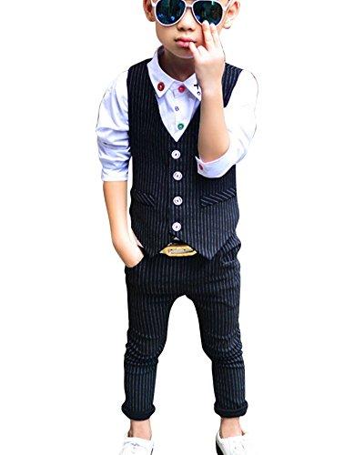 DianShao Jungen Elegant Streifen Weste 2 Stück Formal Anzug Kinder Kleidung Sets Schwarz 140