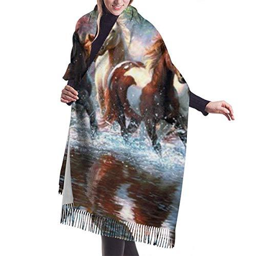 Tengyuntong Damen Wickeldecke Schal, Indianer Indianer Pferde Kaschmir Schal für Frauen Männer Leichte übergroße Mode Weiche Winterschals Fransen Schal Wraps