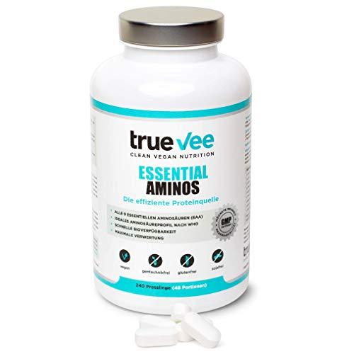 True Vee Essential Aminos   EAA   9 Essentielle Aminosäuren   240 Tabletten a 1000mg   vegan   glutenfrei   höchste Reinheit   USP Pharmaqualität   Made in Germany