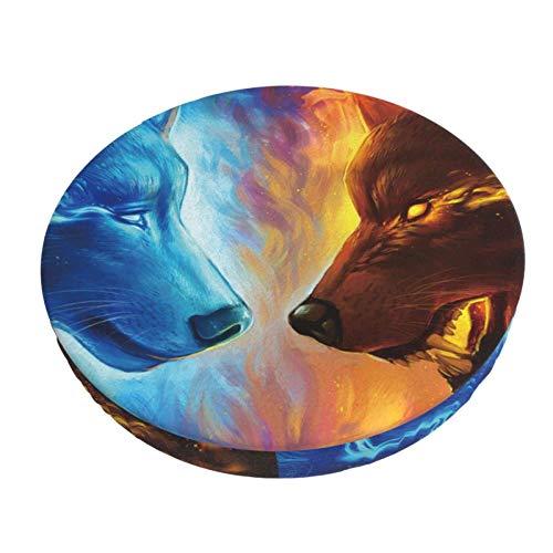 Cool Fire Ice Wolf Barra Redonda Funda de cojín para Silla Funda de Asiento Suave Antideslizante Protector elástico 12in ~ 14in