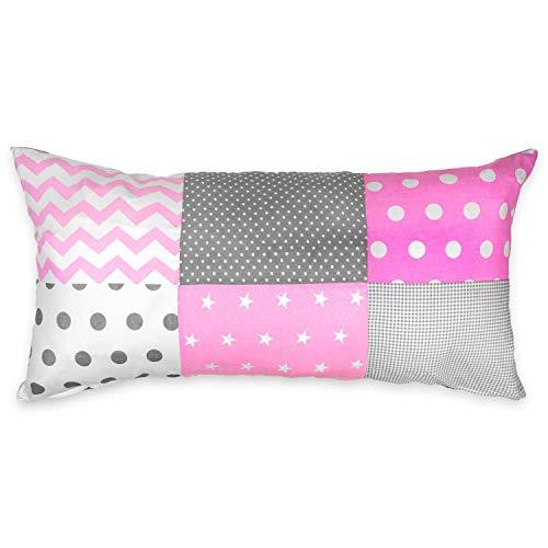 Kissenbezug 40 x 80 Kinder Baumwolle Kopfkissenbezug - Patchwork Kissenhülle Baby Dekokissen Bezug für Kissen rosa-grau-weiß