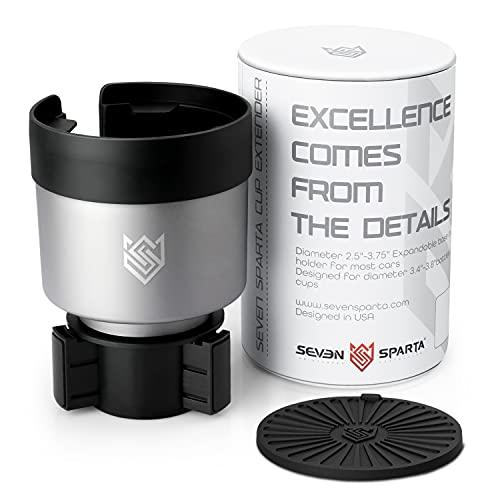 "Car Cup Holder Expander Organizer Adjustable Base Fits for Yeti 20/26/30 oz, Hydro Flasks 32/40 oz, Nalgenes 30/32/38/48 oz, Camelbak 32/40 oz, Large Bottles in 3.4""-3.8"" Diameter (Silver)"