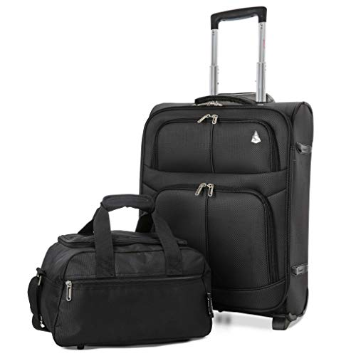 Aerolite 55x40x20 Expandable 42L Suitcase Carry-On Cabin Luggage Trolley + 40x20x25 Ryanair Cabin Travel Bag Set (Black + Black)