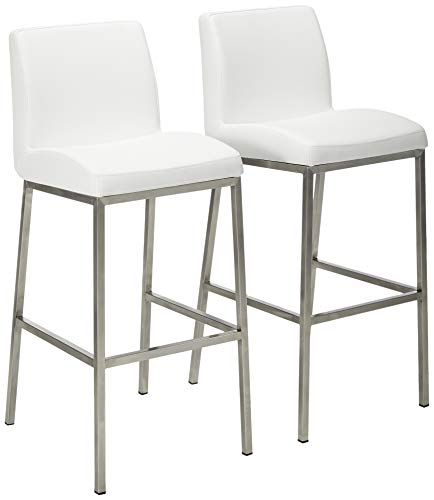 Christopher Knight Home Vasos Leather Barstools, 2-Pcs Set, White