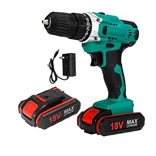 BYOLPMKK Trapano Cordless 18 V 3 8 Controllo Shift 2 VELEZZO 28 Torque Cordless Impact Drill Trening Drill Tool Lavorazione del Legno con Set di batterie 2PCS (Color : 2 Battery US Plug)
