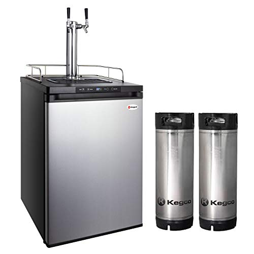 Kegco HBK309S-2K Full-Size Digital Homebrew Kegerator Dual Faucet Stainless with Ball Lock Keg