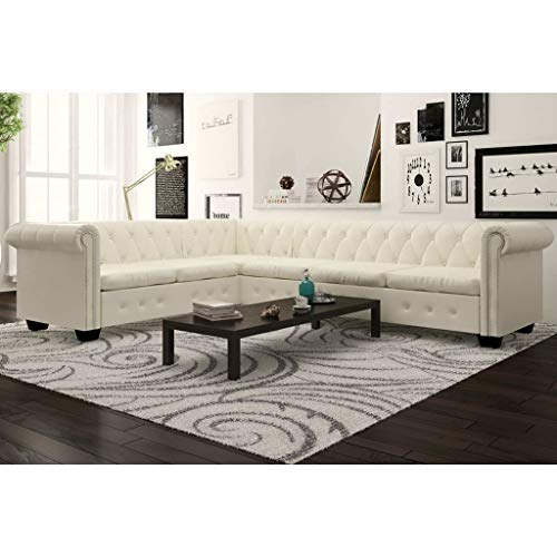 INLIFE Chesterfield Corner Sofa,L Shape 6-Seater Sectional Sofa for Living Room White Faux Leather