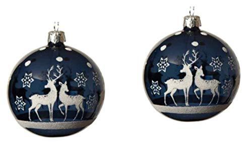 KAE - Juego de 2 Bolas para árbol de Navidad nórdico, Cristal soplado a Mano, Cristal soplado a Mano, Color Azul Claro con Detalles de reinero Blanco Brillante, 8 cm