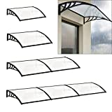 The Fellie Rain Canopy Door Canopy Awning Front Door Canopy for Outdoor Window Porch Shade Patio Roof Cover UV Protection, (Black/L120xW80xH23.8cm)