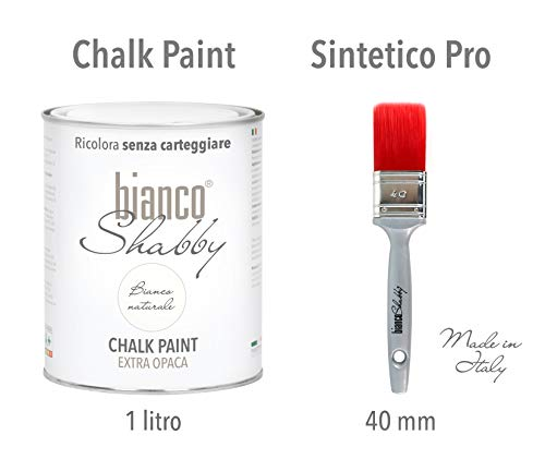 CHALK PAINT Bianco Naturale & PENNELLO - Pittura Shabby Chic Vintage EXTRA OPACA (1 Litro) + Pennello Professionale (40 mm)