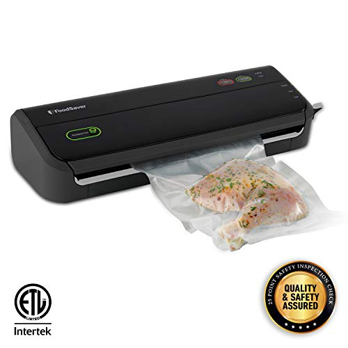 FoodSaver FM2000 Vacuum Sealer Machine with Starter Bags & Rolls | Safety Certified | Black -...