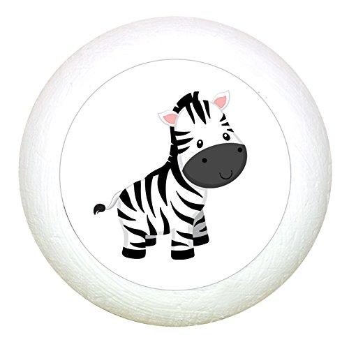 """Möbelknauf""""Zebra"""" weiss Holz Buche Kinder Kinderzimmer 1 Stück wilde Tiere Zootiere Dschungeltiere Traum Kind"""