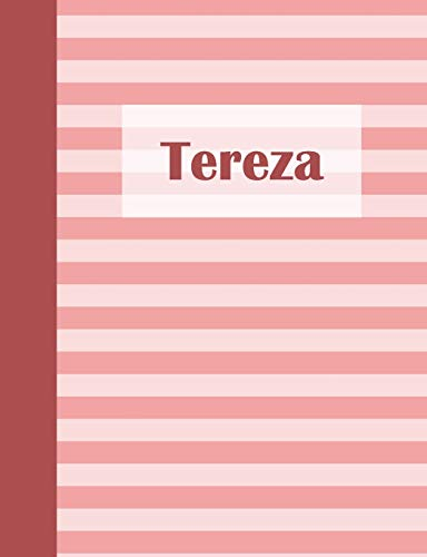 Tereza: Personalized Composition Book   School Notebook, College Ruled (Lined) Journal, Pastel Pink Stripe Pattern with First Name