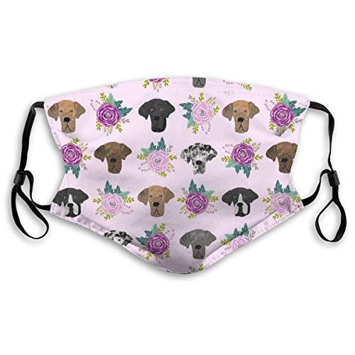 Gesichtsbedeckung Outdoor Mundbedeckung - Deutsche Dogge Blumenstoff - Hunde und Blumen Stoff Hundekopf