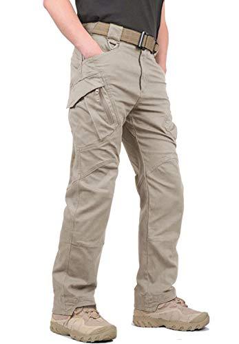 KEFITEVD Wanderhose Herren Bundeswehr Hose Tactical Pants Ranger Hose Baumwolle Mehrfach Taschen Freizeit-Hose Herbst Outdoorhose Männer Cargohose Khaki 34 (Etikett: XL)