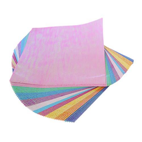 Moverstar 50 Plantillas de Papel de Origami, cuadradas, Brillantes y Plegables, Hechas a Mano, álbum de Recortes, Manualidades, Tarjeta de grabación