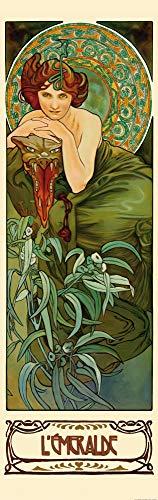 1art1 Alphonse Mucha - Die Edelsteine, Der Smaragd 1900, 1-Teilig Fototapete Poster-Tapete 250 x 79 cm