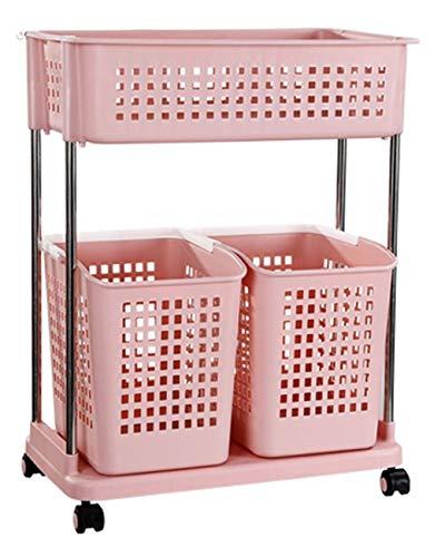 Wasmand Storage Basket Nordic Mand Plastic vuile kleren Storage Basket Kleren Thuis Simple wasmand badkamer plank (Kleur: Roze) XIUYU (Color : Pink)