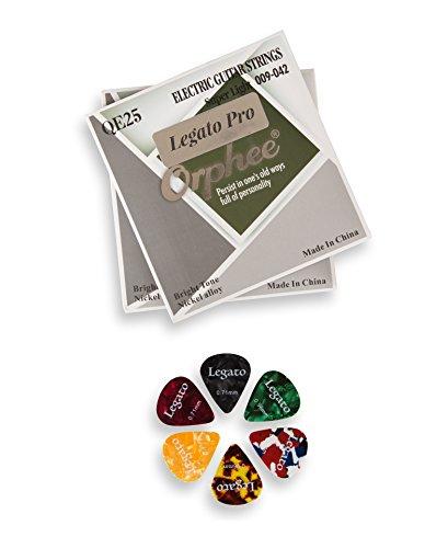 Legato Saiten für E-Gitarren, professionell, beschichtet, Nickel, mit 6 verschiedenen Gitarren-Plektren Super Light 09-42