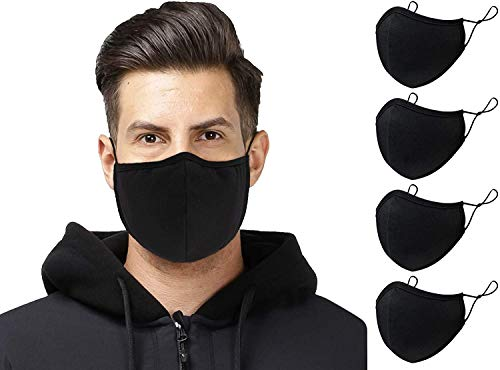 Lot de 4 Masques en Coton Noir Lavable en tissu Réutilisable Couvrant les Hommes Avec Sangle Réglable Femmes Respirant Mode Protection Bouche Couvre Adulte Masque