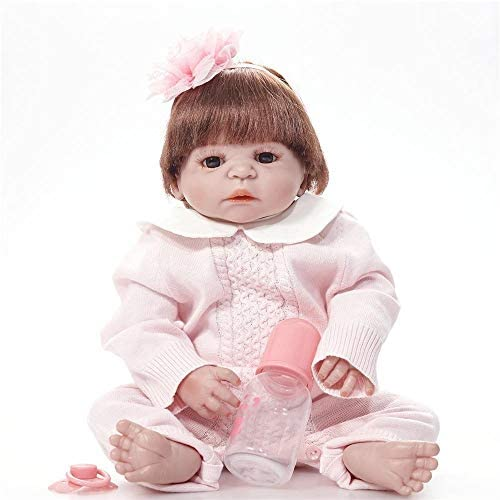 Hongge Reborn Baby Doll,Reborn Puppe lebensecht Weißhen Gel Sieht real Neugeborenes Baby Reborn Puppe 55cm