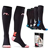 Powerlix Compression Socks for Women & Men (Pair) Helps with Circulation, Diabetes, Neuropathy & Swelling, 20-30 mmHg Medical Knee-High Stockings Support for Pregnancy, Running, Athletic, Nurse & More