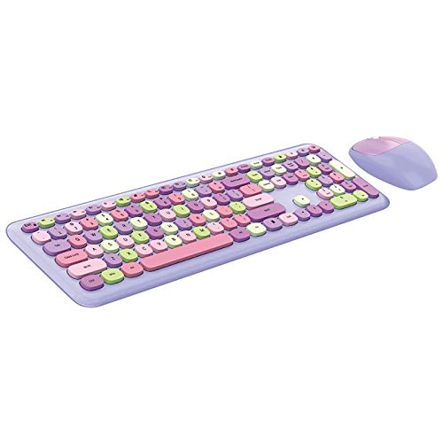2021 Wireless Keyboard and Mouse Set,2.4GHz Wireless Simple Connect with Desktop Computer, Laptop, PC,Retro Full Size with Number Pad & Cute Wireless Mouse for Notebook Mac Windows XP/7/8/10 (Purple)