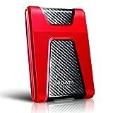 ADATA Disco Duro Externo HDD HD650, 1 TB, Rojo USB 3.1,Contra Polvo y...