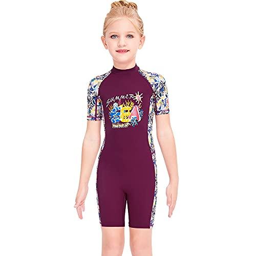 CHUIKUAJ Mädchen Badeanzug Bademode Einteiliger Badeanzug Shorty Neoprenanzug UPF 50+ UV Sonne und Meer Neoprenanzug,Purple-Medium