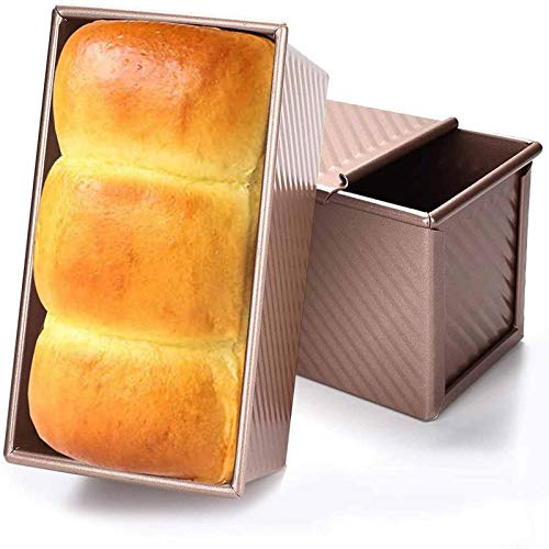 Brotbackform mit Deckel, Kastenform zum Backen, Karbonstahl Brot Toastform, Antihaftbeschichtet, Backen Pullman Backblech, Toastbox/Sandwichform Toastform, gewellter Stil, Gold