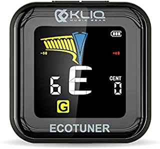 KLIQ EcoTuner - USB Rechargeable Clip-On Tuner (included charging cable) - with Guitar, Bass, Violin, Ukulele & Chromatic Tuning Modes