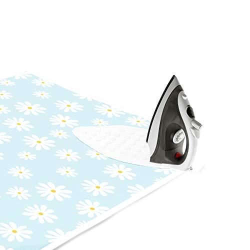Encasa Homes Case da Stiro stuoia/Pad 120x70 cm con Imbottitura da 3 mm e Supporto in ghisa siliconica per la pressatura a Vapore sul Tavolo o sul Letto - Daisy Blue