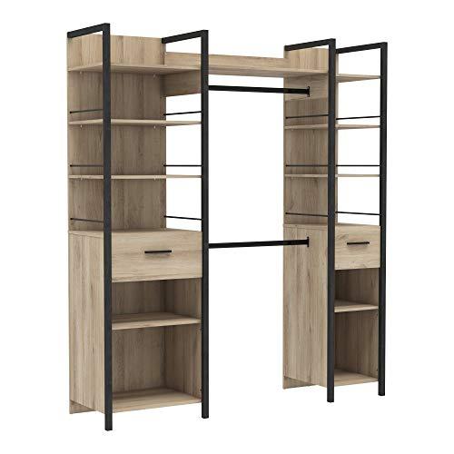 Miroytengo Armario Urano vestido abierto habitacion dormitorio estilo industrial color roble kronberg 180x45x208 cm