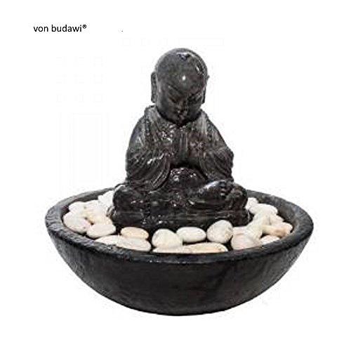 Budawi® - Brunnen - Zimmerbrunnen Meditation Mönch aus Resin incl. Pumpe & LED-Licht