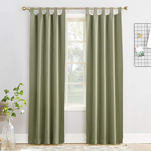 "Sun Zero Easton Blackout Tab Top Curtain Panel, 40"" x 95"", Sage Green"