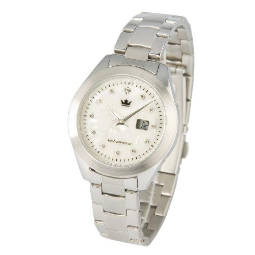 Elegante MARQUIS Damen Funkuhr Armbanduhr (Junghans-Uhrwerk), Perlmutt Zifferblatt mit Kristallsteinchen - 964.4105