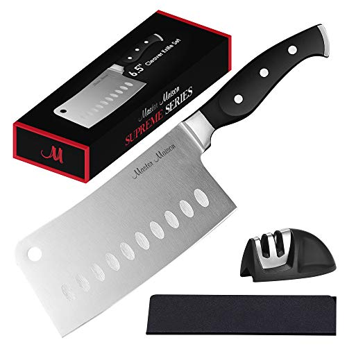 Professional Cleaver Knife Set | Master Maison Premium German Stainless Steel Butcher Knife Set With Dual Sharpener & Edge Guard Cover | Anti-Fatigue, Ergonomic, Full-Tang Triple-Riveted Handle
