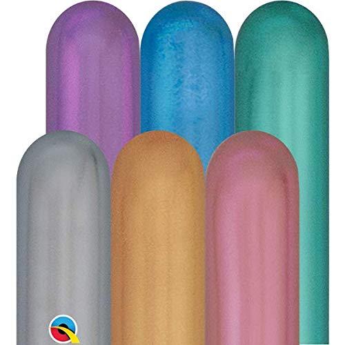 Qualatex 260Q - 100 palloncini da modellare, in cromo e colori assortiti
