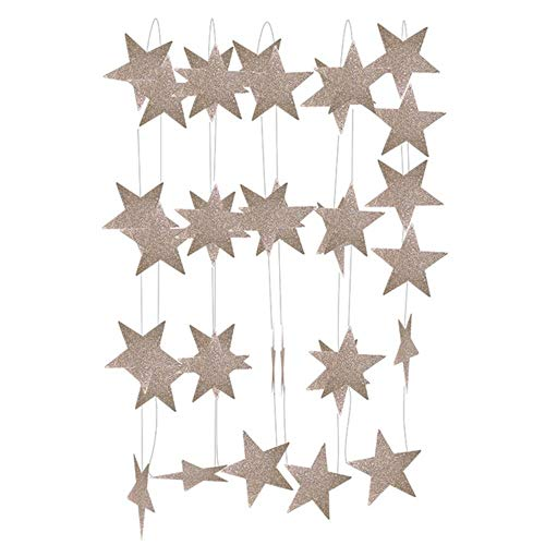 Heng Paper Garland Star Shape String Banners Babygors Hangpapier Happy Birthday Wedding Party Home Decoration, champagne