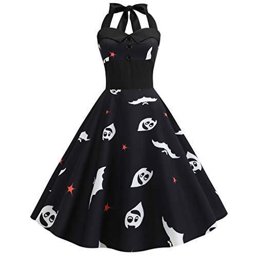 Longra jurk, casual, Halloween, dames, mouwloze jurk, Fairy Tale Vintage, retro-jurk, jaren '50, hals, baljurk, pin-up, kostuum