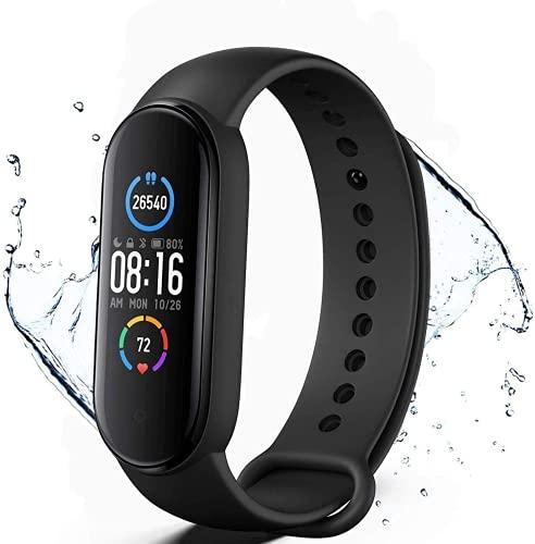 Rastreador de fitness, pulsera inteligente impermeable con monitor de ritmo cardíaco y sueño, contador de pasos, 11 modos deportivos (negro)