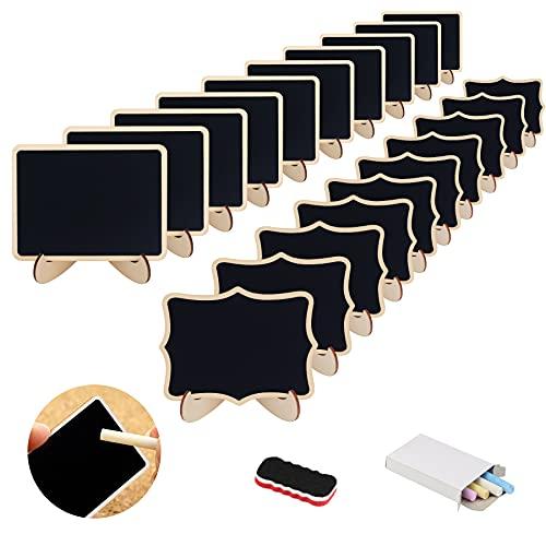 DKINY 20pcs kleine Kreidetafel mit Halterung Kreide und Radiergummi Tafel Holzschilder mit geraden und wellenförmigen Kanten zum Schreiben als Preisschilder Tischtafel Memotafel Namenskarte