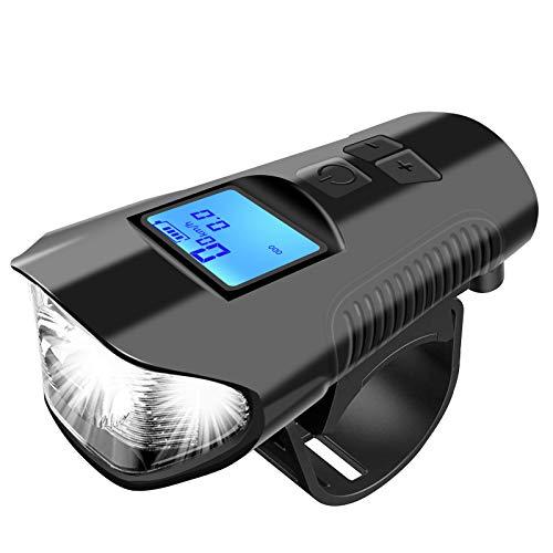 venustar Juego de luces USB para bicicleta con velocímetro, luces recargables para bicicleta con timbre de bicicleta de 3000 lúmenes, luz LED para todas las bicicletas de montaña y de carreter