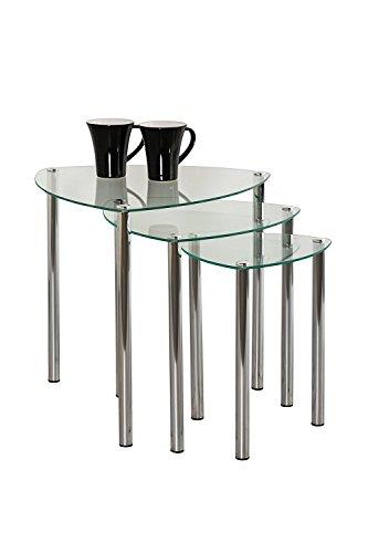 Aspecto Arena Nesting Tables/Final Lado Table-Clear Cristal, Patas de Cromo, Vidrio, Claro, Set de 3