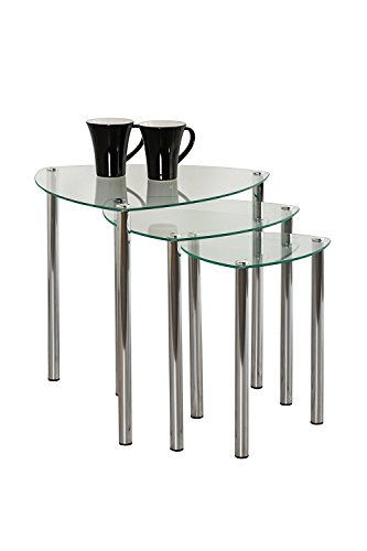 ASPECT Arena Set of 3 Nesting END Side Table-Clear Glass,Chrome Legs, 48x48x46 cm