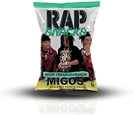 Rap Snacks 1 oz Potato Chip Bags (Migos Sour Cream with a Dab of Ranch, 48 Pack)