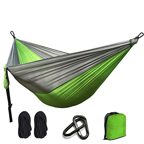 FENGSZ Portable Hammock Outdoor Parachute Nylon Hammock 260 X 140Cm,Capacity Weight 330Lbs-440Lbs,For Outdoor,Yard, Camping,Green And Light Grey