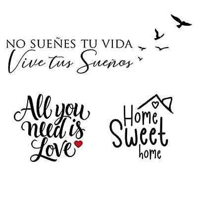 """✅INCLUYE: 3 Pegatinas pared decorativas - Vinilo vive """"No sueñes tu vida, vive tus sueños"""" (70cm x 20cm) - Vinilo love """"All you need is love"""" (27cm x 30cm) – Vinilo Hogar """" Home sweet home"""" (20cm x 20cm). 🏡DECORACION: Nuestros vinilos pared decorativ..."""
