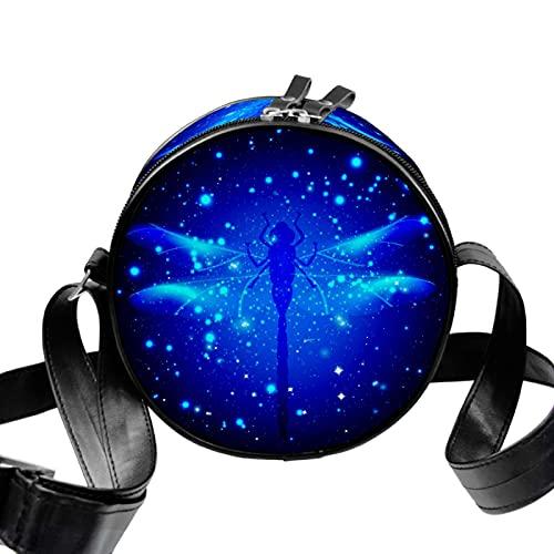 Eestars Pequeñas bolsas cruzadas para mujer con bolsa de lona acolchada redonda (Animal Dragonfly Star-Bright Blue Insect Glow)