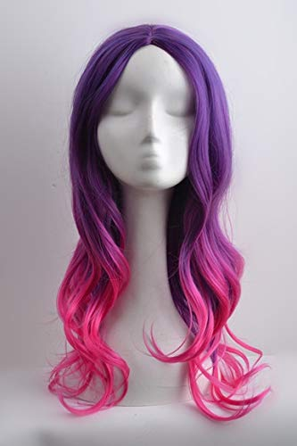 Wächter der Galaxie Gamora Cosplay Perücke Purle Gradient Hair Zoe Saldana Cosplay Perücke Rollenspiel Kostüme One Size Elma